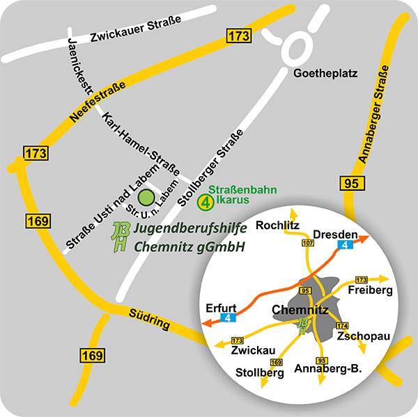 Anfahrtsskizze JBH Chemnitz